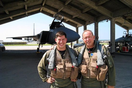 David Deptula II, then an Air Force captain, and his father, Lt. Gen. David Deptula, now retired, with an F-15 in 2008