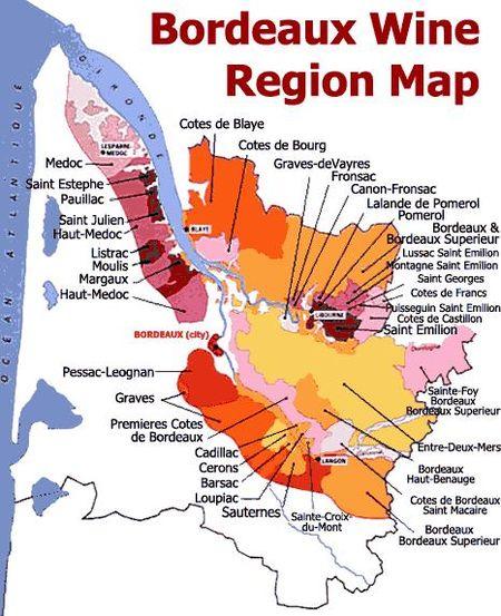 Bordeau Wine Region Map