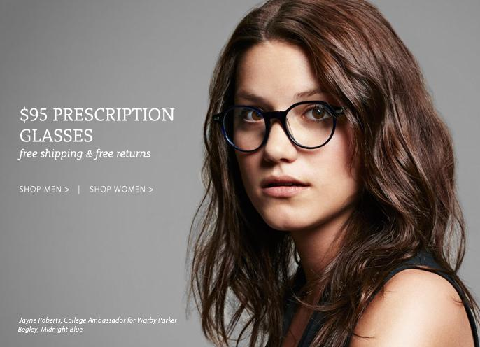 Warber Parker $95 prescription glasses with free shipping and free returns