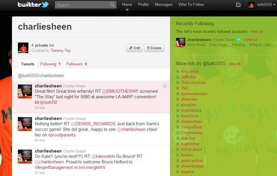 @CharlieSheen tweets using Twitter Lists