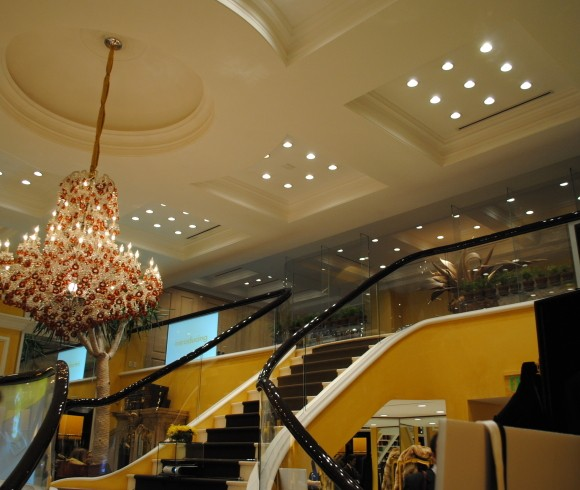 Bijan boutique's sweeping staircase leads upstairs to the Bijan private collection