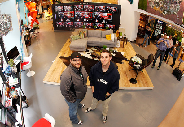 Mike O'Hara and Ryan Wagner, the winners of Major League Baseball's 'Dream Job', pose for a photo on March 31, 2011 at MLB's Fan Cave in New York City