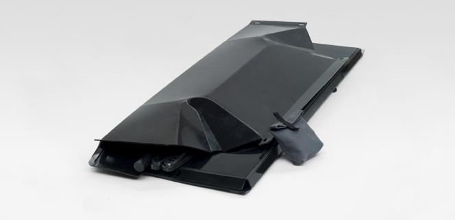 Floatboat neatly folded for storage or transportation