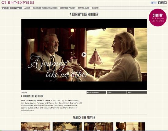 Orient-Express 'A Journey Like No Other' home page