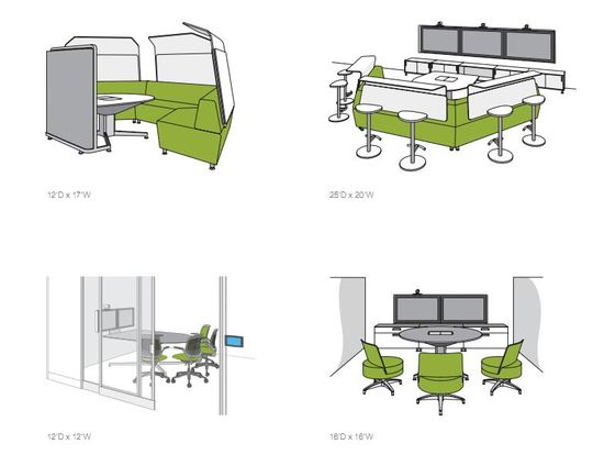 Steelcase media-scape videoconference furniture styles and dimensioins