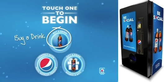 New pepsi social vending machines for redeeming social gifts