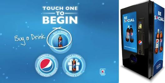 New pepsi social vending machines for redeeming social gifts