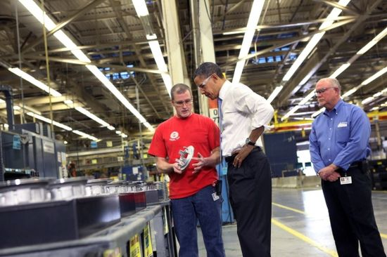 President Obama during a tour of Allison Transmission