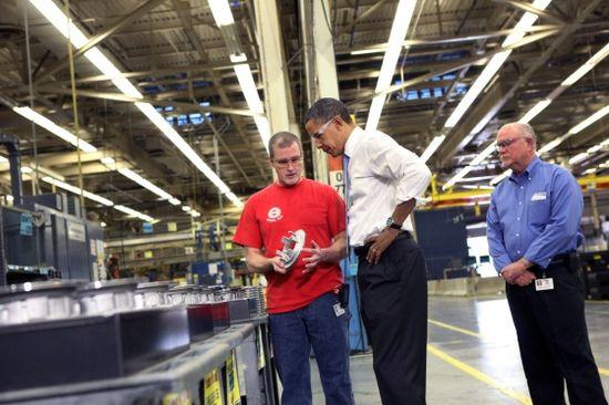 President Obama during a tour of Allison Transmission