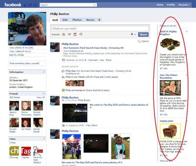 Facebook display ads as they appear on a typical FB page