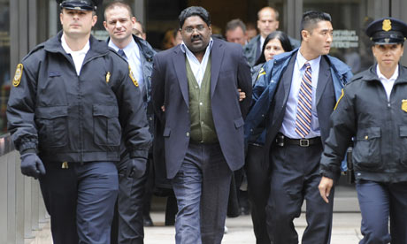 Hedge Fund Galleon Group founder Raj Rajaratnam arrested by U.S. Marshalls in October 9, 2009 for alledged fraud and insider trading