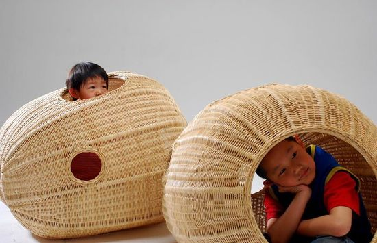 Design Museum Holon - Children's pods made from woven rattan. The kids would go crazy over these.
