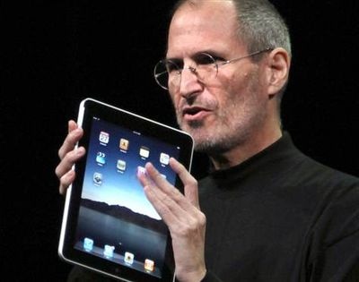 Apple CEO Steve Jobs introduces the iPad tablet computer