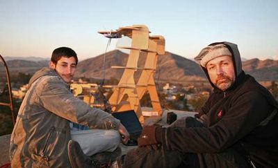 Afghani's setup a FabFi high-speed Internet communications tower made from wood