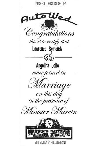 AutoWed wedding certificate
