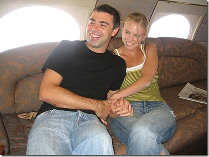Larry Page and new wife Lucy Southworth onboard a private jet on their honeymoon to Hawaii