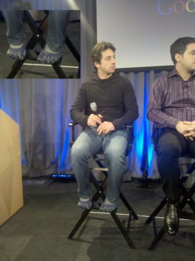Sergey Brin wears some very strange five-toed shoes