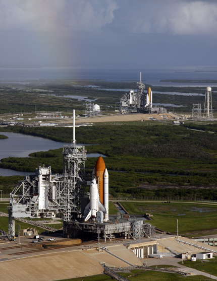 Space Shuttle Atlantis (foreground) sits on launch pad A and Endeavour on launch pad B at NASA's Kennedy Space Center in Florida on September, 20, 2008
