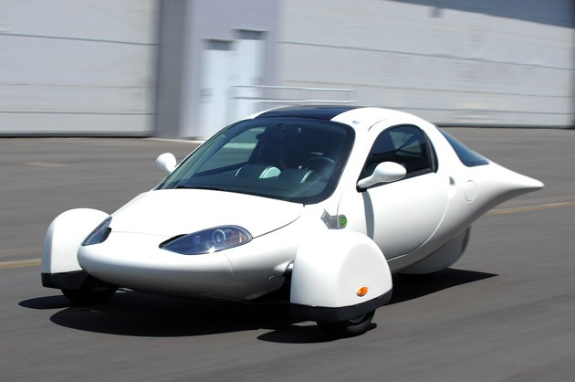 The Aptera 2e is a three-wheel electric car made from very strong honeycombed composite materials