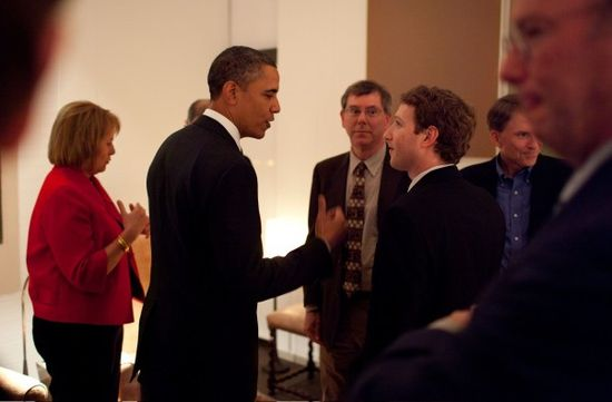 President Barack Obama talks with Facebook CEO and founder Mark Zuckerberg at a recent dinner sponsored by Kleiner Perkins' John Doerr