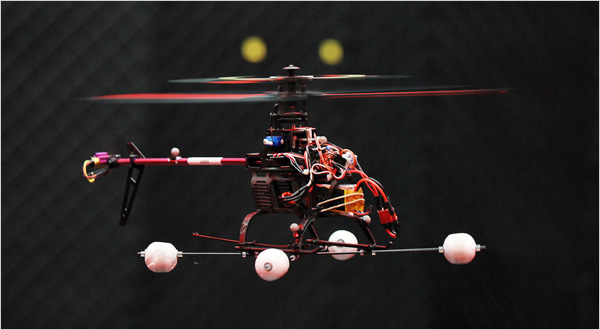 A microdrone during a demo flight at Wright-Patterson Air Force Base