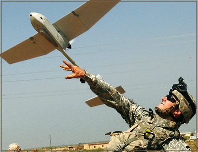 The Raven is a 4lb, 3ft long drone used by troops in Afghanistan to peer over the next hill