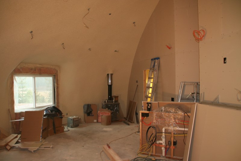The Hobbit House interior starting to look like a house as drywall is installed