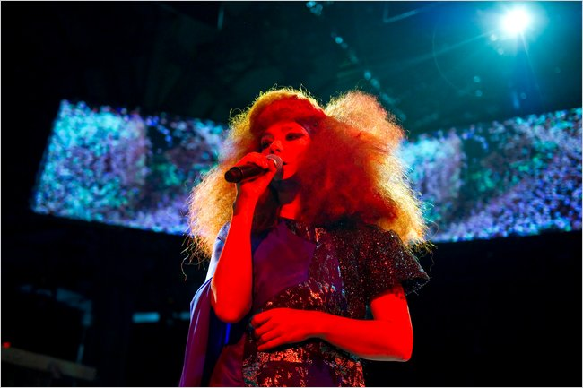 Bjork performing in Manchester, where she introduced 'Biophilia,' an album of multi-mixed material set for release in September.2011