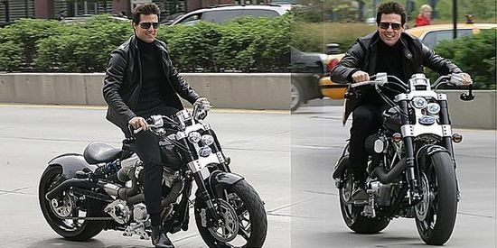 Tom Cruise rides an earlier generation Confederate Hellcat motorcycle