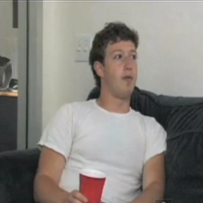 Zuck having a brew during the interview