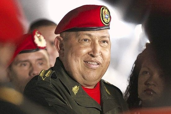 Venezuelan President Hugo Chavez looks cheery upon his return from Cuba following treatments for cancer