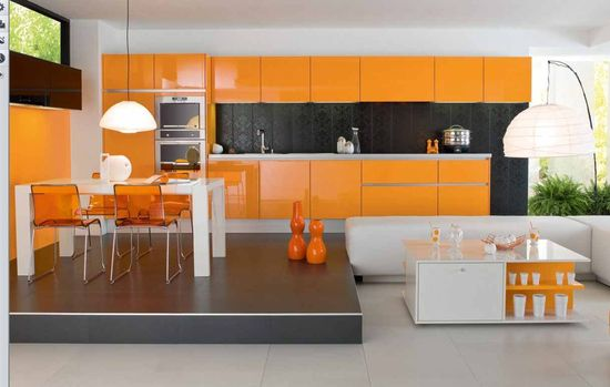 Modular Orange Kitchen 3