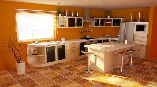 Modular Orange Kitchen 6