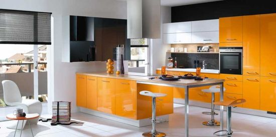 Modular Orange Kitchen 8