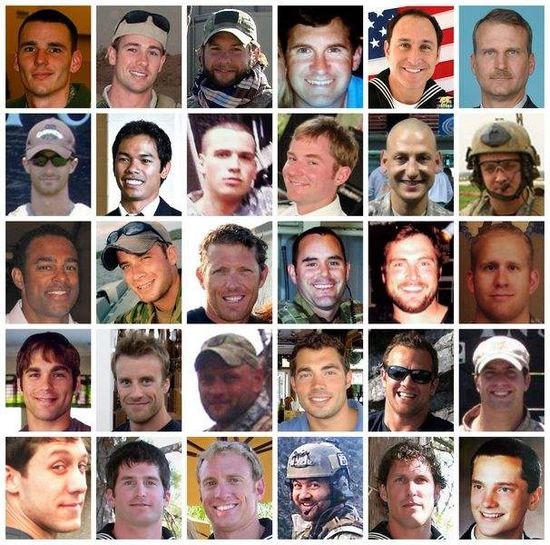 Pictures of the 30 American soldiers and sailors killed in the Chinook helicopter that crashed in Afghanistan.  Petty Officer Jon Tumilson is second from the left in the fifth row.