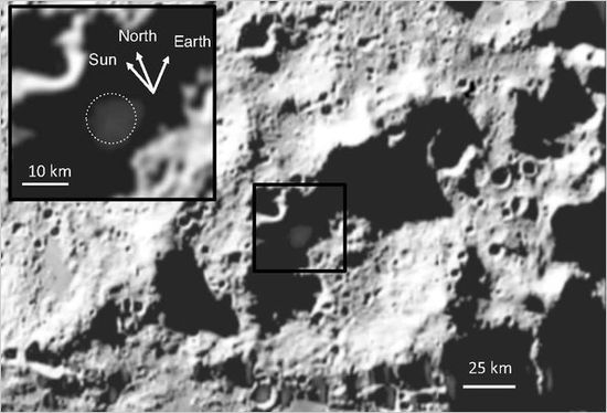 Location of Moon crater containing frozen water