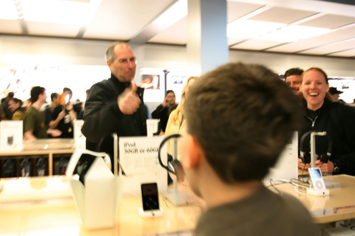 A kid said to Steve, 'I'm Apple's biggest fan' to which Steve replied, 'what about that guy'.