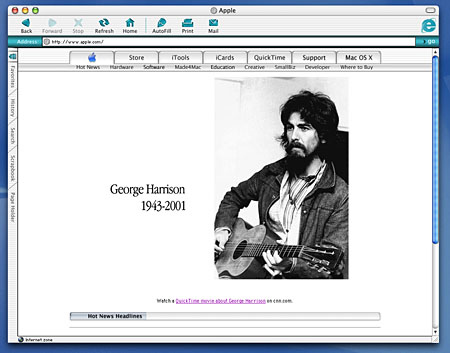 Apple's homepage paid tribute to George Harrison