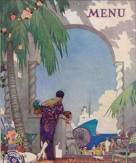 Menu for The Admiral Line, The Pacific Steamship Lines, 1929