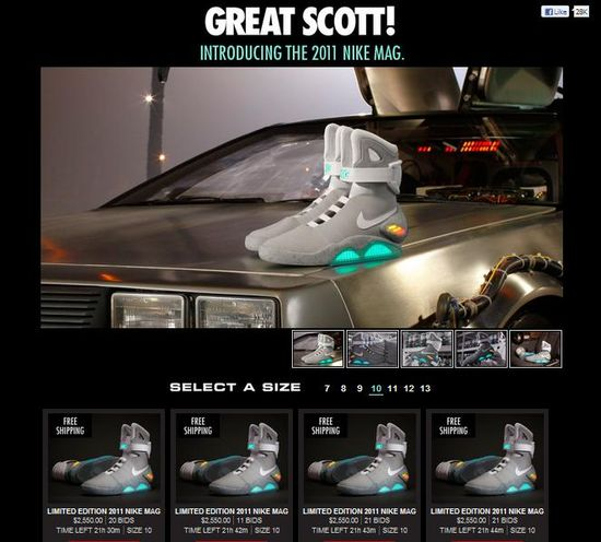Nike MAG bidding page on eBay