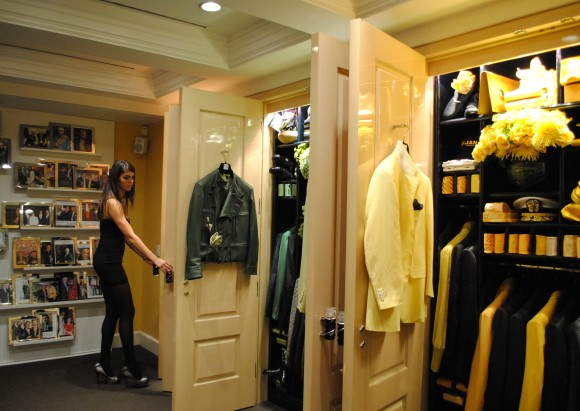 Bijan boutique private collection features a series of closets that are laid out in specific colorways for maimum dazzling effect