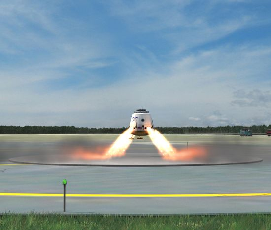 Dragon Spacecraft returns back to Earth under its own power and lands on the tarmack of the launching pad to be reused for future space flight launches