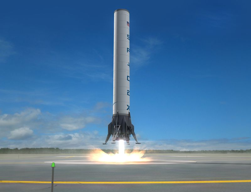 SpaceX Falcon 9 multi-stage launch stage returns back to Earth under its own power and lands on the tarmack of the launch pad so that it can be reused for future space flight launches