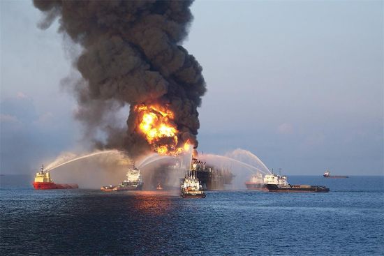 The Deepwater Horizon oil right operated by British Petroleum that caught on fire and caused the worst oil spill in history, another reason to reduce oil consumption