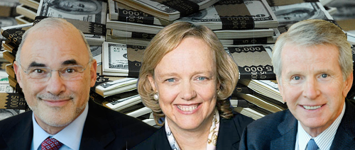 (left-to-right) Former HP CEO Leo Apotheker, New CEO Meg Whitman and Executive Chairman Ray Lane