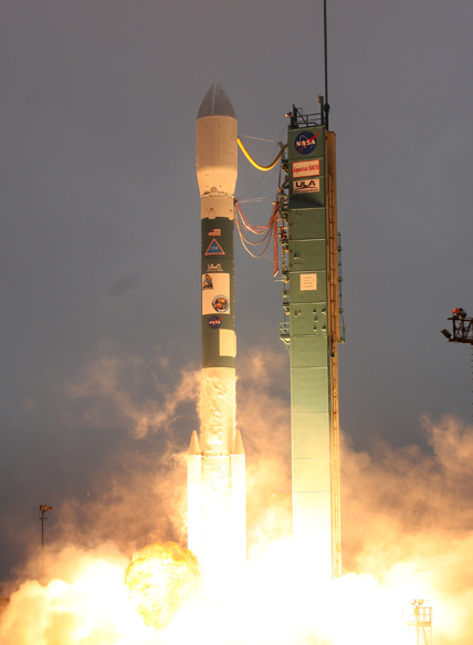 The Delta II rocket carrying the Aquarius SAC-D spacecraft lifts off from Vandenberg Air Force Base, Calif. Photo credit of United Launch Alliance