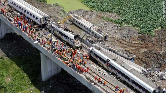 The Chinese bullet train accident killed 40 people and injured at least 190. The impact sent four carriages plunging 65 ft off the elevated rail line 2.