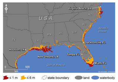 US Geological Survey predicts what Gulf and Atlantic Coast would look like by the year 2100 due to rising sea levels as the result of global warming