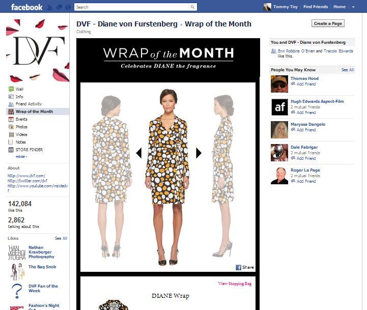 Diane Von Furstenberg's Facebook 'Wrap of the Month' page