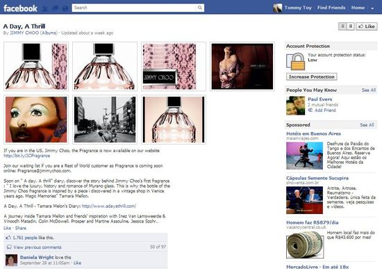 Jimmy Choo's A Day, A Thrill page on Facebook